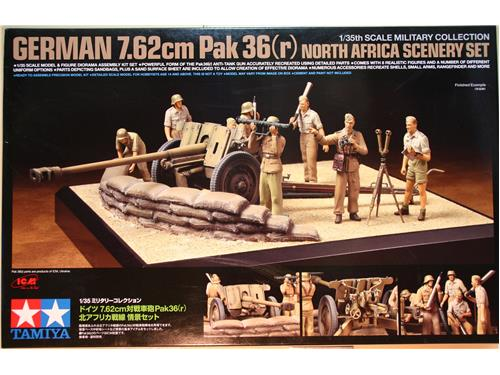 German 7,62cm Pak 36(r) north Africa scenery set - Tamiya 1/35