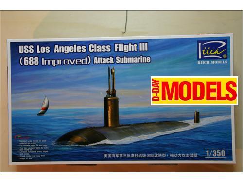 USS Los Angeles Class Flight III (688 Improved) Attack Submarine - modelli Riich Models